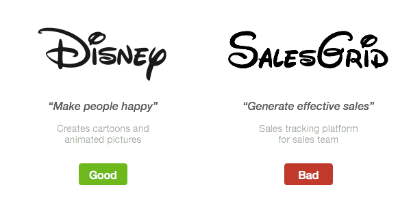 The fun styling of the Disney logo is appropriate for a design that aims to be fun, but such a style would not be appropriate for a sales platform company.