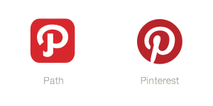 The logos of Path and Pinterest are very similar.