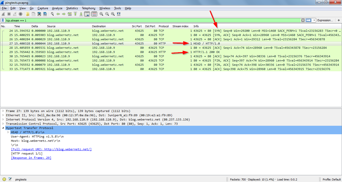 httping-Wireshark